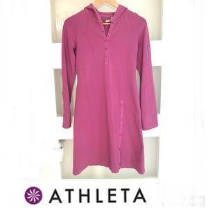 ATHLETA Magenta Hooded Sweatshirt Dress Sz S
